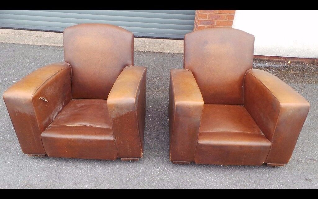 Two Antique Vintage French Leather Brown Club Chairs Armchairs,Possible Delivery