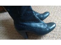 Black leather Clarks boots, size 6