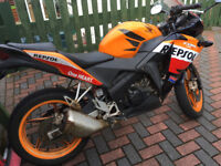 Honda CBR 125 R-D, Motorbike, Repsol colours, 16,000miles. 6-speed. Electric Start.