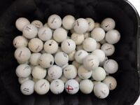 Tub of 65 golf balls, all good condition, Titleist, Nike, Scrixon, Top Flight, Callaway, Wilson