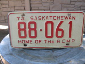 SASK 1973 -HOME OF THE RCMP -LICENSE PLATE -$30 EACH