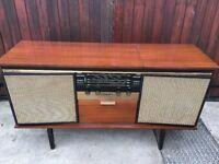 vintage valve radio and record player
