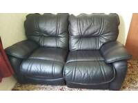 reclining 2 seater proper leather sofa