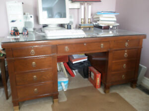 SOLID WALNUT DESK, WITH SEPARATE GLASS TOP