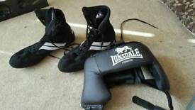 Lonsdale boxing boots and headguard