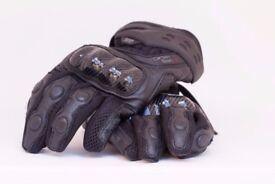 IXS Carbon Mesh/Leather Motorbike gloves, size: M/9