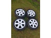 AUDI S3 ALLOY WHEELS AVUS 6 SPOKE GENUINE A4 VW GOLF POLO SEAT LEON IBIZA 5x100 PIRELLI TYRES 1.8T