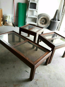 3 piece glass coffee and end table