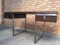 Stylish desk brown top aluminium frame