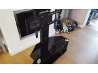 Black Glass TV Stand Cabinet Cable or TV Stand With Bracket for LED LCD Plasma