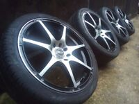 17' Black-Polished Alloy wheels 4x108-4x114 Ford Fiesta-Escort-Puma-Fusion-Jap c
