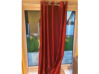 """Pair of long red eyelet curtains, fully lined, 90""""x90"""" (228x228cm)"""