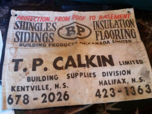 Vintage nail apron with advertising for Kentville NS companies