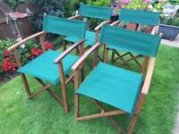 4 green directors chairs NEW