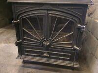 Jotul type large wood burning stove / burner with back boiler