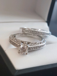 Engagement and wedding ring size 6.50 19kt white gold