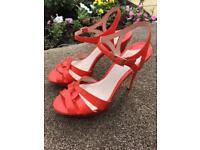 Ladies Faith Shoes heels size 6 orange / coral