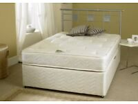 DOUBLE DIVAN BED BASE & 10 INCH THICK MATTRESS BRAND NEW STILL SEALED IN POLY PLASTIC