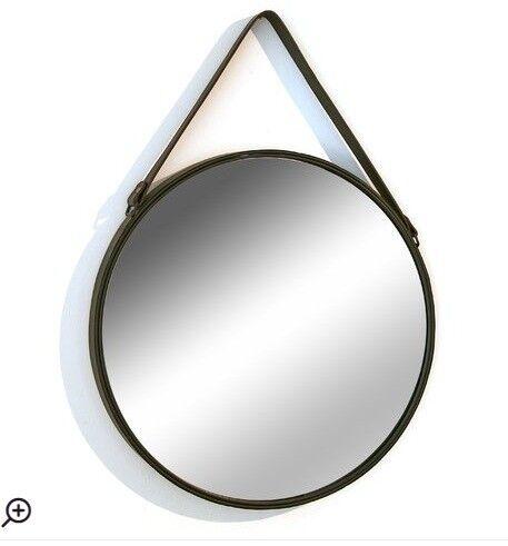 Hokku design accent mirror round black metal framed for Round black wall mirror
