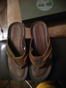 Timberland Men's Brown Leather Flip Flops size 10 US Brand New