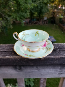 FOLEY Green Hand Painted Cabbage Rose signed Tea Cup and Saucer