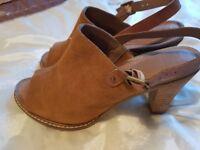 M&S Suede Mule footglove Sling back sandals size 6.5 - block wooden heel