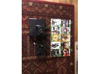 Xbox 360 console and 10 games, wired remote