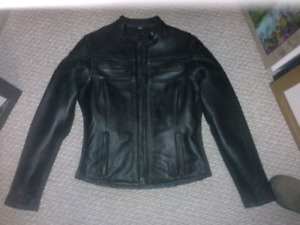 Dark Brown Woman's leather bike jacket small