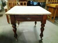 Pine scrub top farmhouse table 2 draws with brass copper ceramic wheels and original glass handles