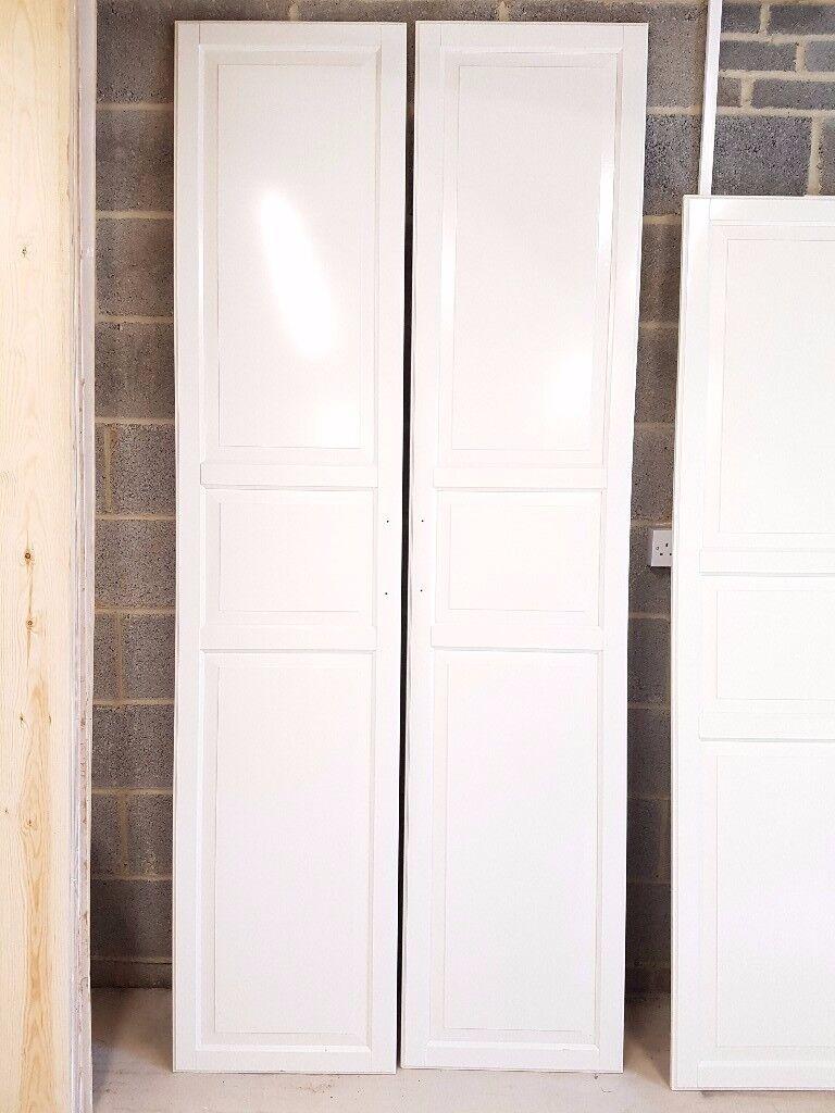 2 Ikea Pax Tyssedal Wardrobe Doors 50cm X 229cm White With Handles