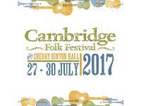 2 X Cambridge Folk Festival Tickets 1 X Camper/Caravan