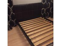 Brown real leather king size bed