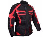 Motorcycle Motorbike Textile Jacket Black Red Waterproof CE Armoured