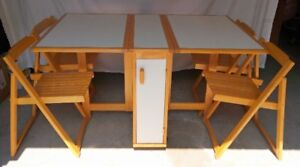 Compact folding table with 4 chairs