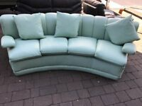 Unique 3 piece suite, mint green leather, curved suite