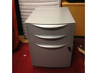 office pedestal grey on wheel filing 3 drawers