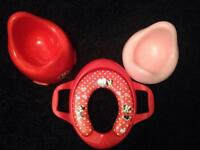 Pink Minnie Mouse potty toilet training set