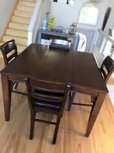 Solid Wood High Square Table 5 matching chairs