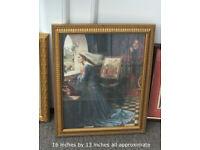 3 Prints in old frames, very nice Pre Raphaelite