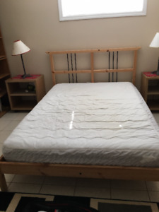 IKEA double bed - frame, slatted bed base, and mattress