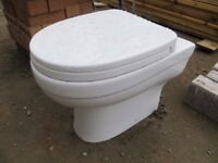 Toilet - back to wall with integrated white seat