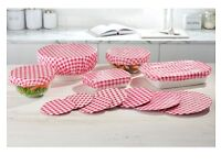Set of 12 Gingham Lid Covers