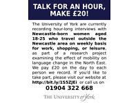 NEWCASTLE, SUNDERLAND, AND MIDDLESBROUGH NATIVES NEEDED FOR ACCENT RESEARCH - PAYS £20 FOR 1 HOUR