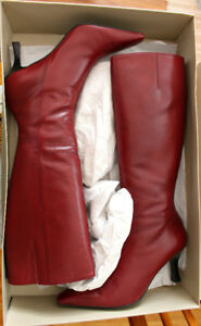 Gorgeous Red Leather High Heeled Boots, Like New