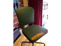 INDUSTRAL LEATHER SWIVEL OFFICE CHAIR - CAN DELIVER LOCALLY 1950'S