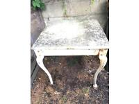 Cast iron & marble vintage table and 4 chairs