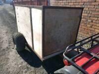 Quad atv livestock trailer very good tyres rear loading ramp with side door
