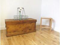 Victorian Pine Storage Chest / Blanket Box / Coffee Table