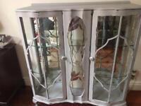 Vintage Glazed Art Deco/Shabby Chic China Display Cabinet