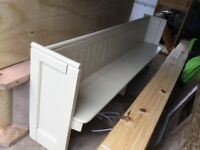 Long antique church pew painted in Farrow & Ball String